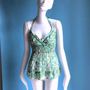 Summer Cotton Green Paisley Voile Halter Top sz XS